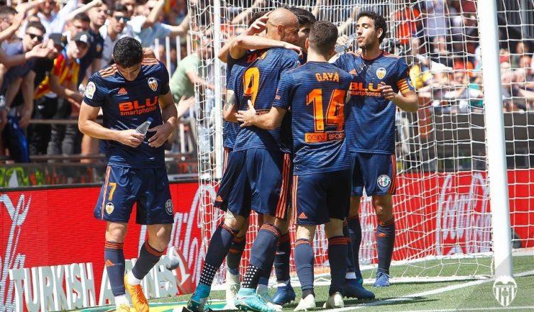 Celebración del gol de Zaza VCF