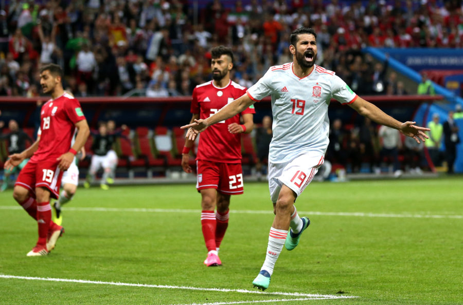 KAZAN, RUSSIA - JUNE 20: Diego Costa of Spain celebrates after scoring his team's first goal during the 2018 FIFA World Cup Russia group B match between Iran and Spain at Kazan Arena on June 20, 2018 in Kazan, Russia. (Photo by Francois Nel/Getty Images)