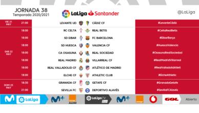 Liga Santander Jornada 38 | 21, 22 y 23 de mayo
